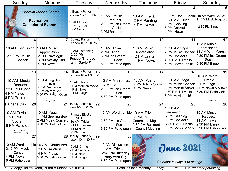 Briarcliff June 2021 Event Calendar